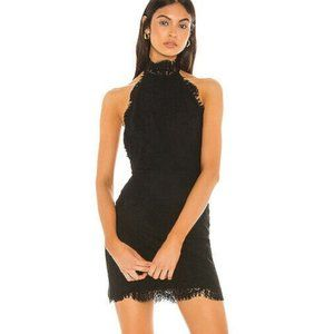 NWT Harper Halter Lace Open Back Dress Black L